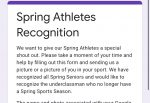 Spring Athletes Recognition