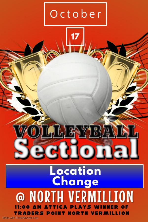 IHSAA Volleyball Sectional #54 Change