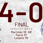 Boys Varsity Soccer beats University 4 – 0