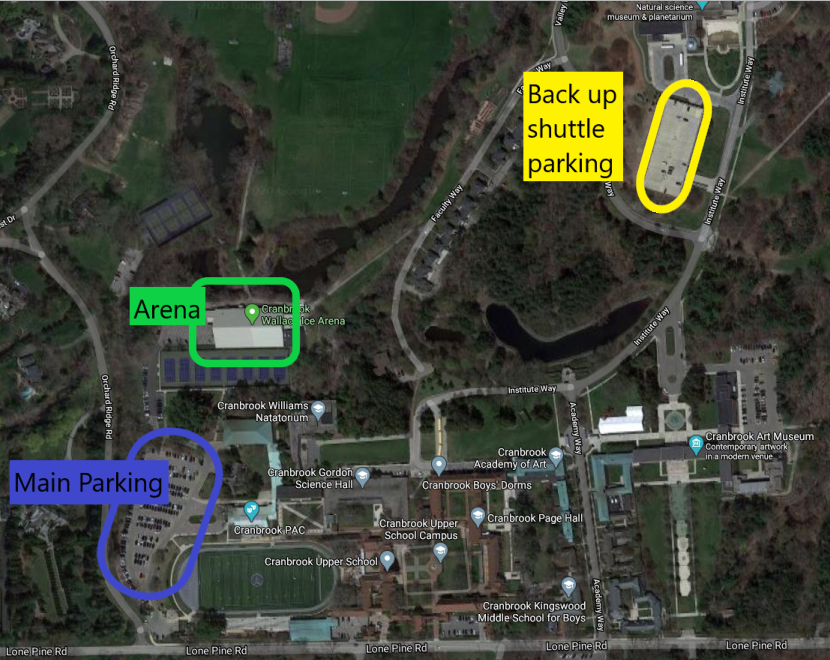 Parking at Cranbrook for tonight's hockey game