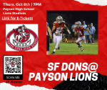 Thursday Football game at Payson this week ~ E-tickets required