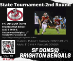 Dons to play Brighton Bengals on Fri. Oct 30 at 6pm