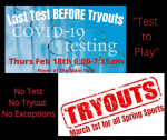Attention Spring Sport Athletes!  Last Testing Date BEFORE Spring Tryouts!!