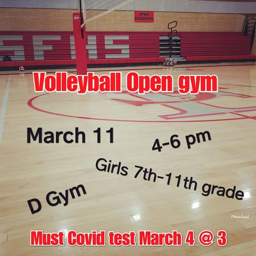 Open Gym Schedule for Volleyball
