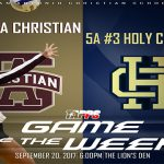 09.20.17 TAPPS GAME OF THE WEEK – SACS vs SA Holy Cross