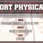 Physicals offered August 1st!