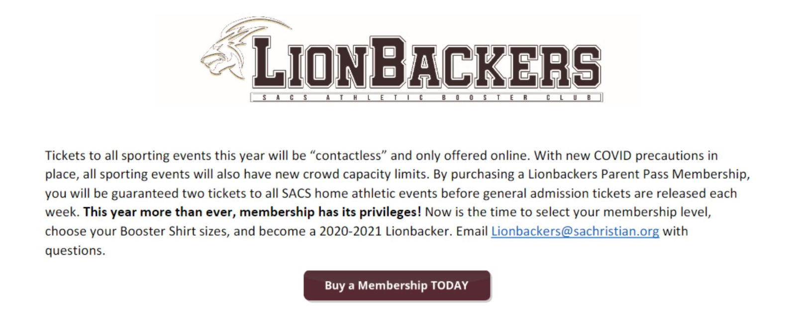 Become a LionBacker Today and Have Early Access to Sporting Events!
