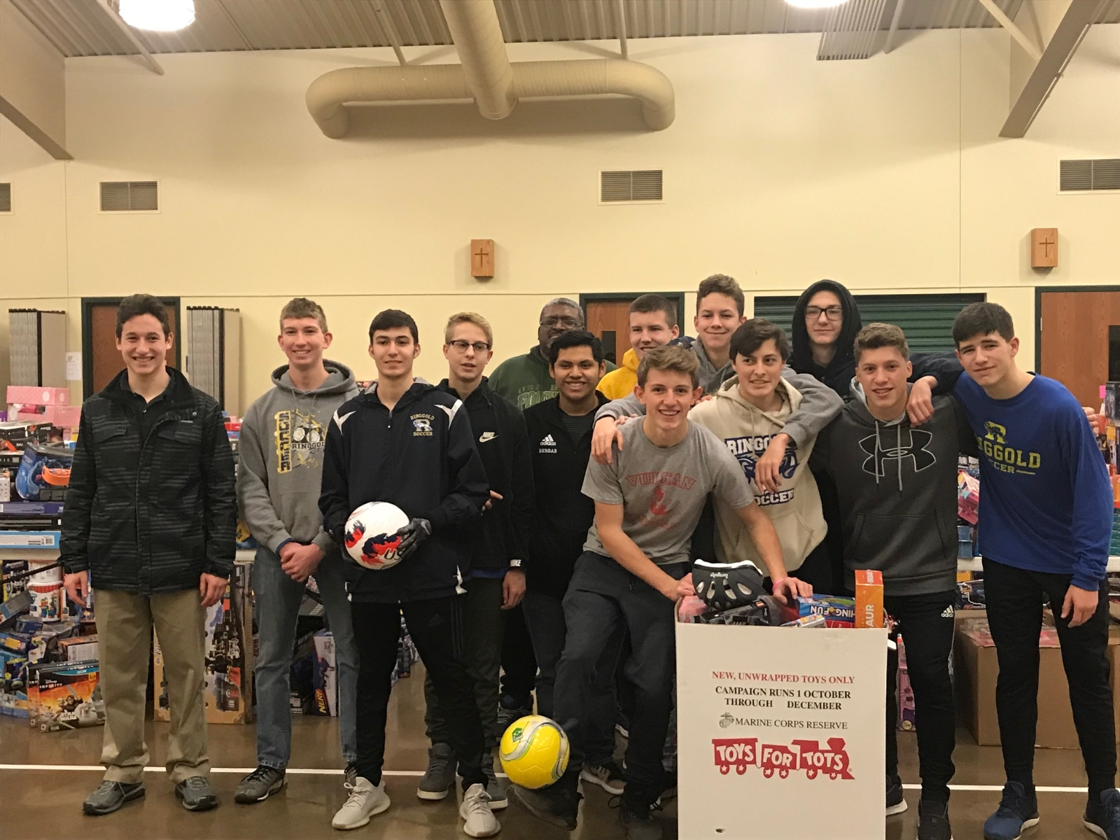 Boys Soccer volunteers at Toys for Tots