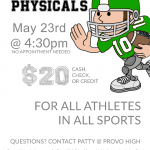 Sports Physicals May 23rd 4:30 pm