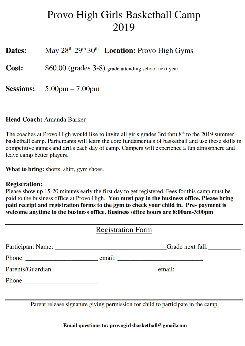 Youth Girls Basketball Camp Set for May 28-30