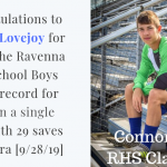 Senior Connor Lovejoy sets school record for saves in a game!