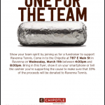 Come tonight and support the Boys Tennis Team! Starting at 4pm @ Chipotle in Ravenna