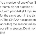 Remember Spring Sports are only postponed. All OHSAA rules are still in affect.