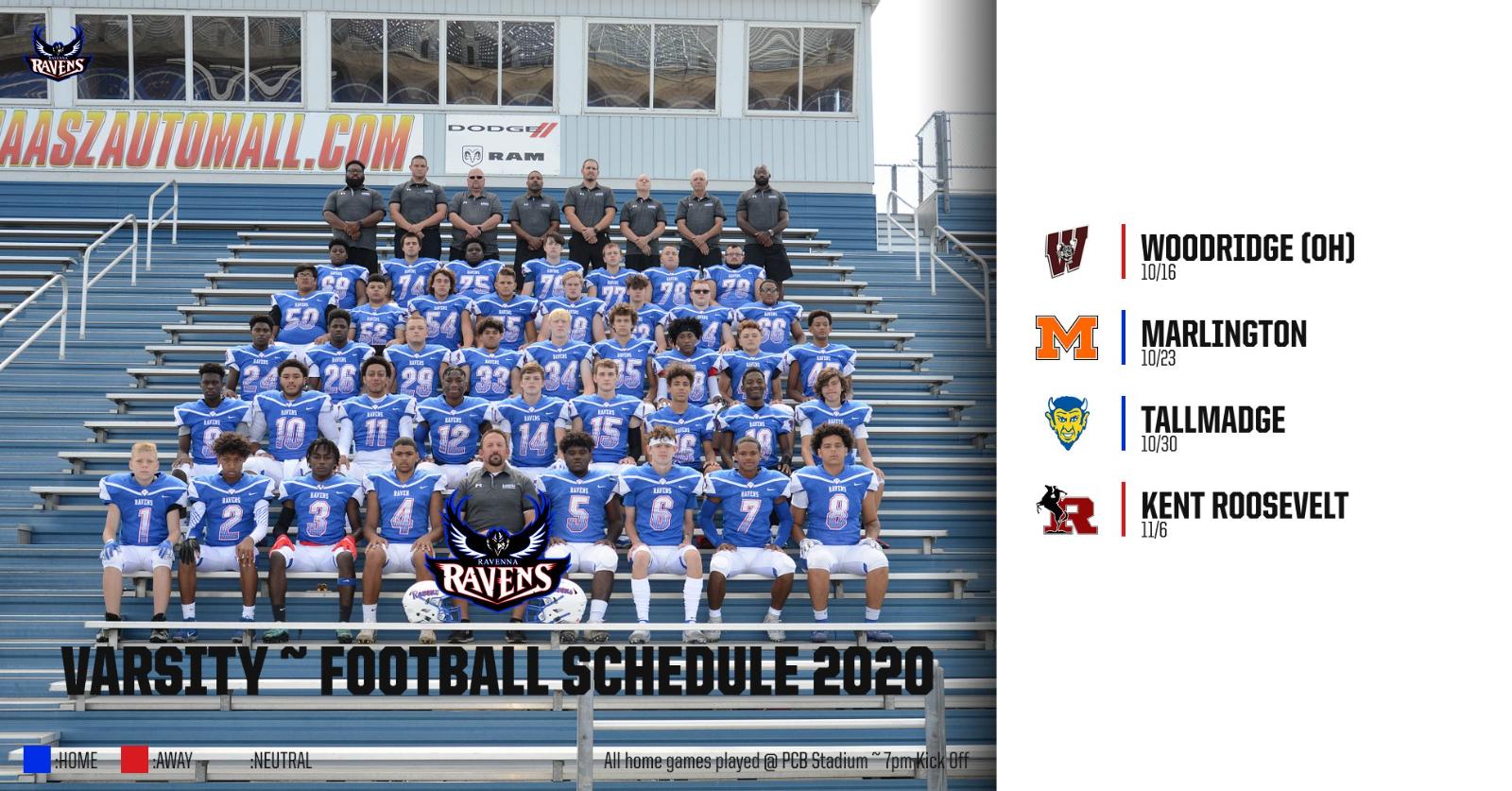 Updated Varsity Football Schedule