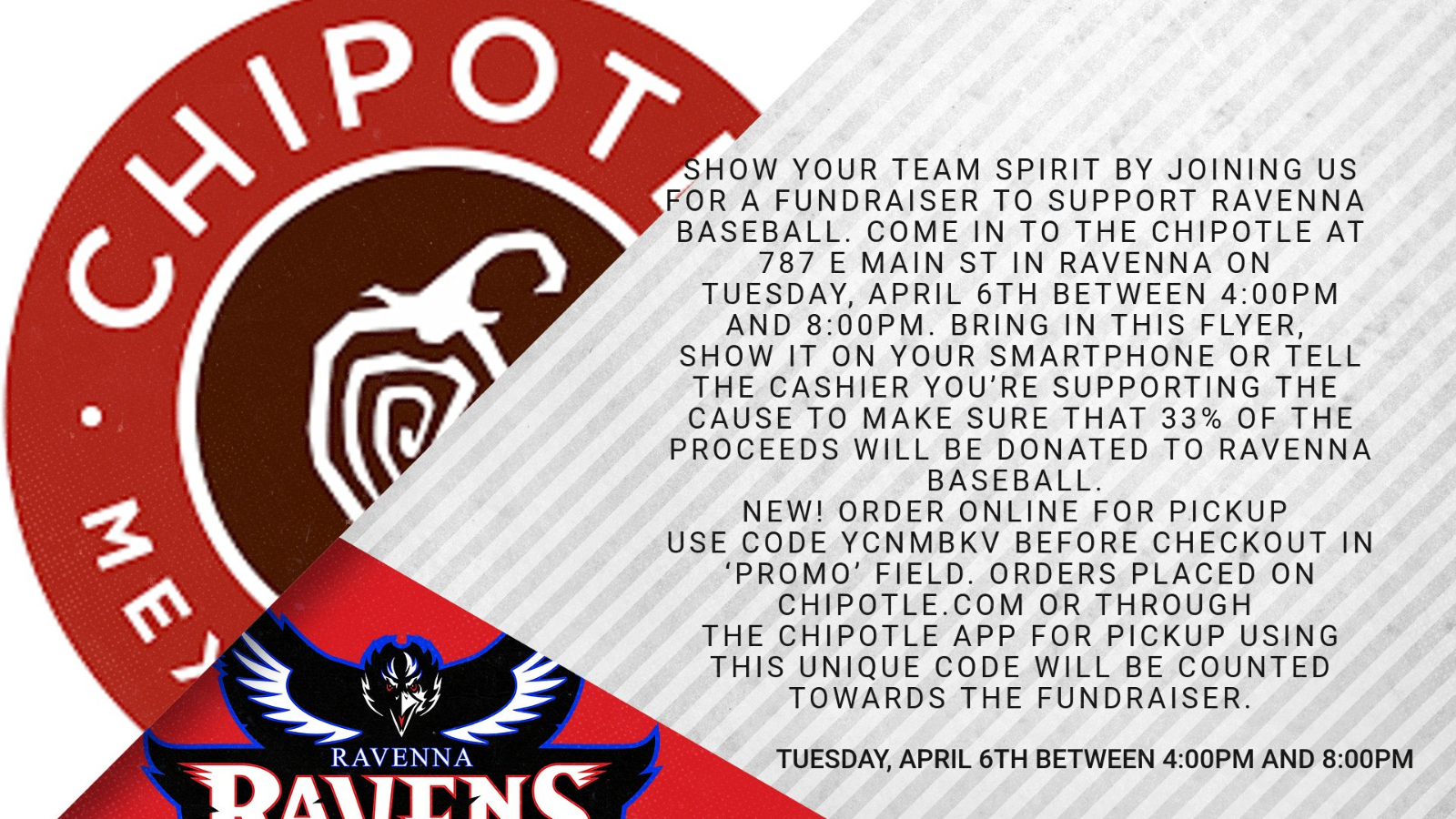 Show Your Team Spirit By Joining Us For A Fundraiser To Support Our High School Baseball Team~ Tuesday, April 6 ~ 4-8pm