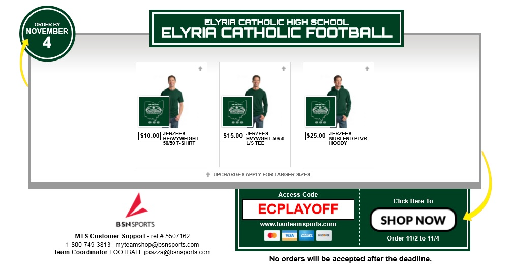 Playoff Clothing Pick Up: Friday 12:00-3:30 PM