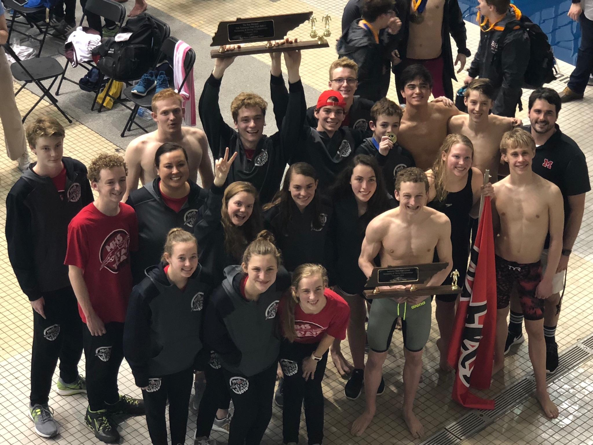 Coed Varsity Swimming finishes 2nd place at Tennessee State Meet