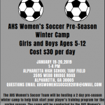 AHS Women's Soccer Winter Camp Jan 19-20