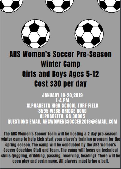 AHS Women's Soccer Winter Camp Jan 19-20