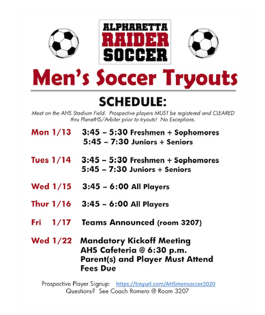 AHS Men's Soccer Tryouts 2020