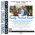Tanner Portrait Studio Teams up with Alpharetta Raiders Lacrosse for a Family Portrait Event Oct 24 & 25th