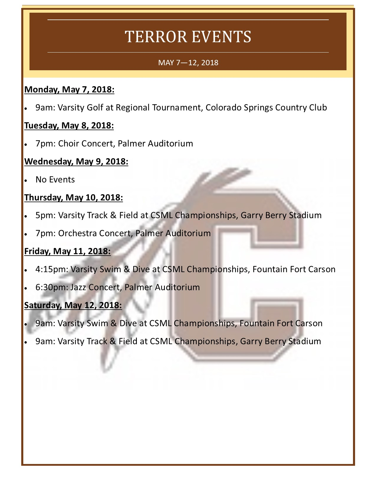 Palmer Events for the Week of May 7, 2018