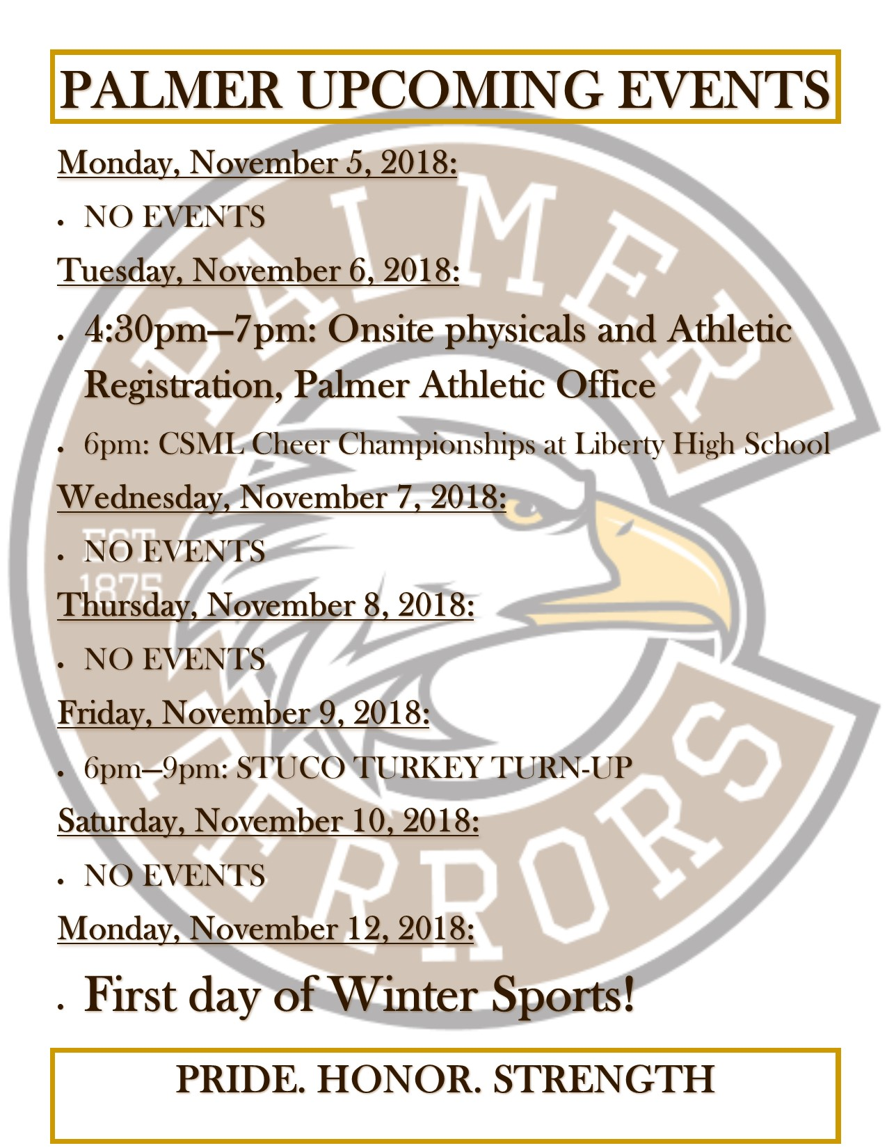 Winter Sports Registration and Week of Nov. 5 events