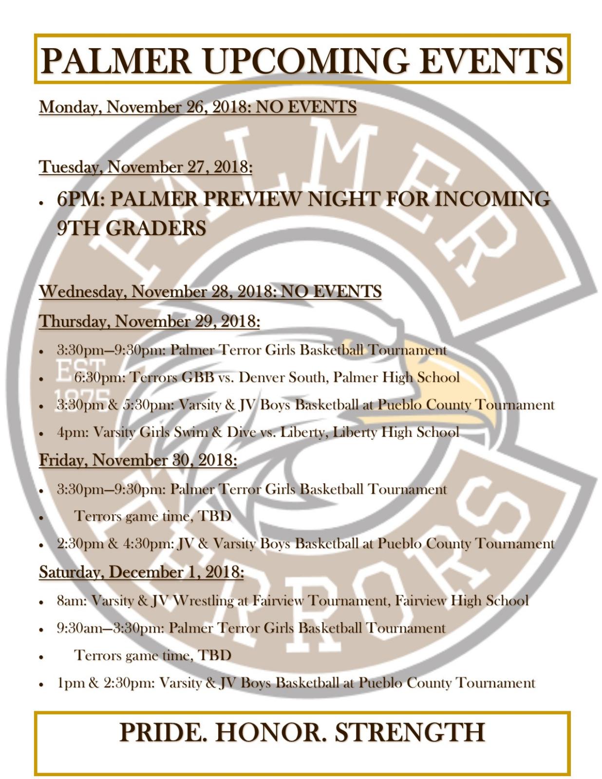 Palmer Events – Nov. 26 – Dec. 1, 2018