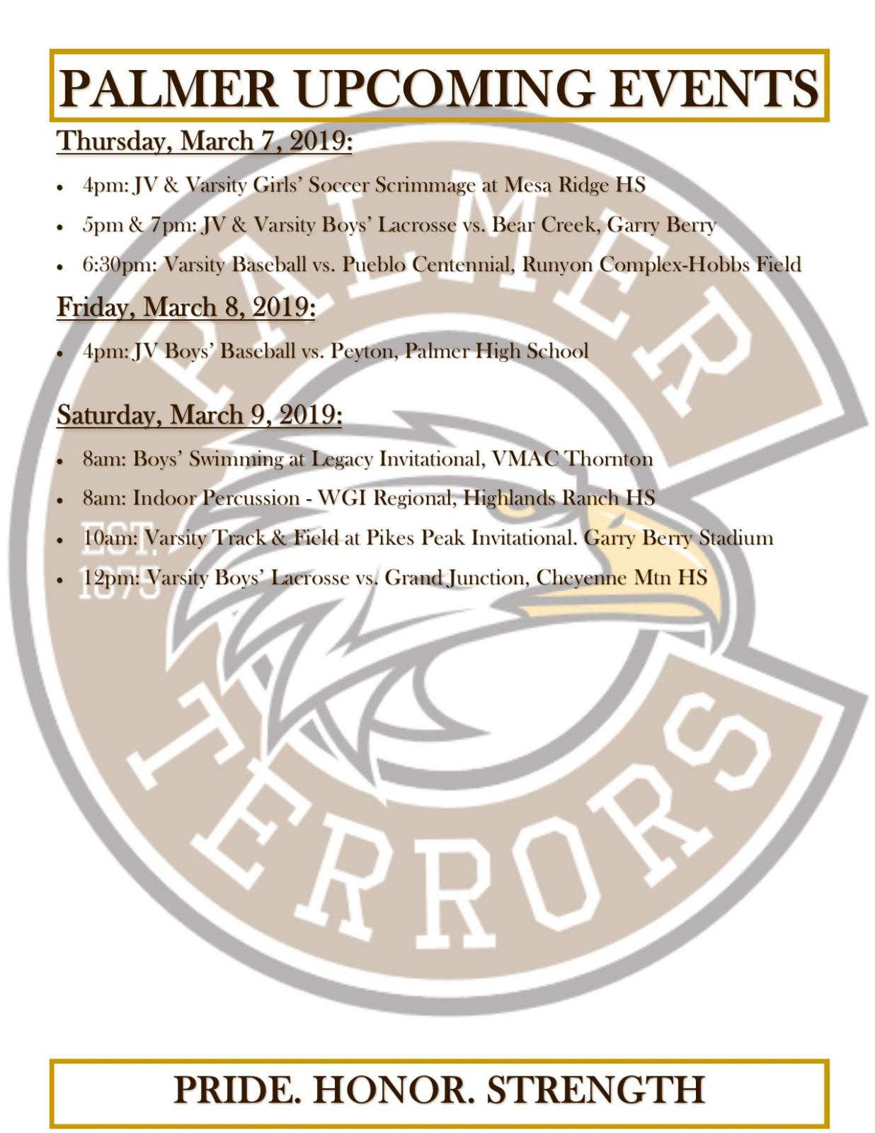 March 7 – 9 Athletic Activities