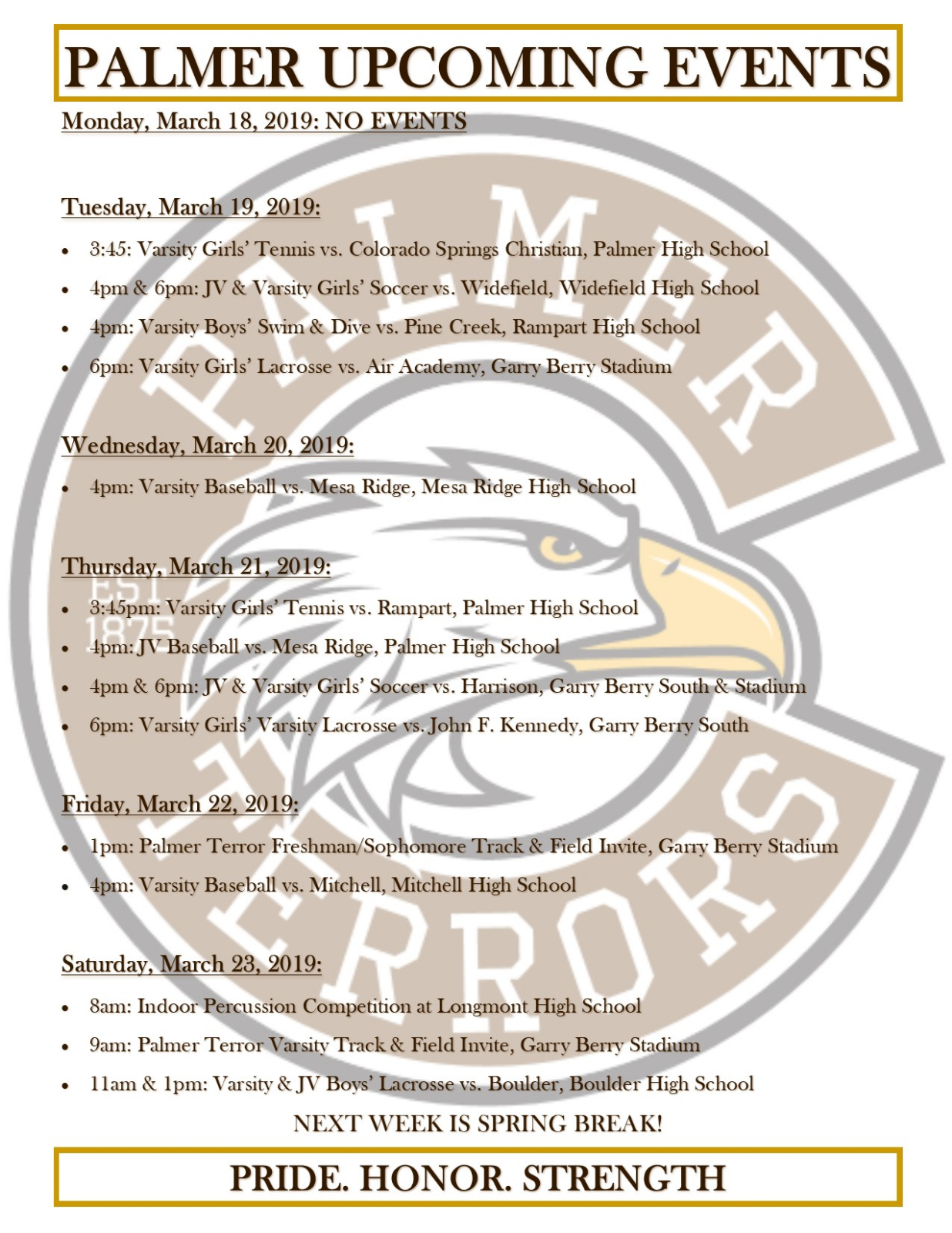 Palmer Events for the Week of March 18, 2019
