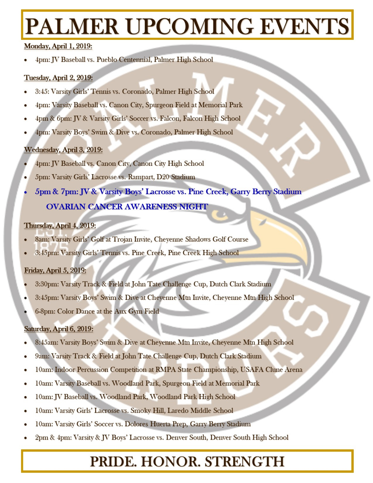 Palmer Events Week of April 1, 2019