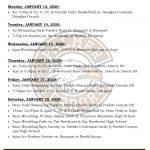 Palmer Events – Jan 13-18, 2020