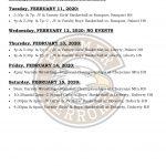 Palmer Events – Feb. 10-15, 2020