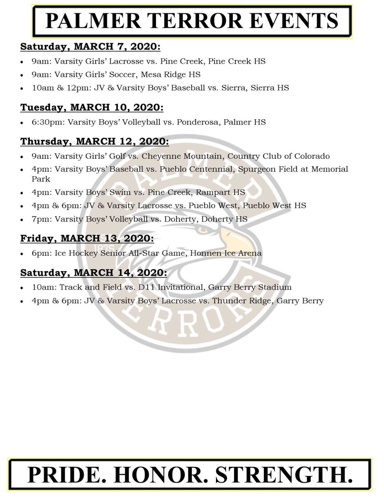 Palmer Events March 7-14