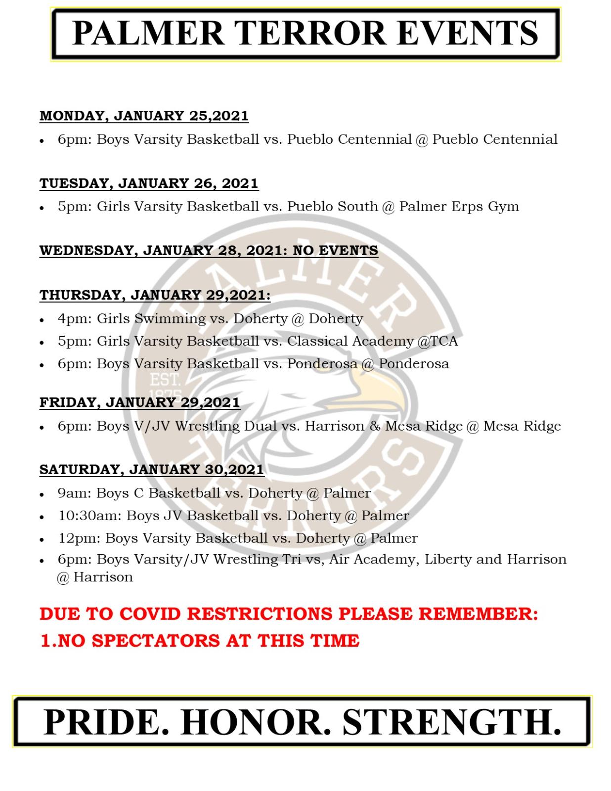 Palmer Events: January 25 – 30, 2021