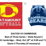 Dalton Softball travels to Cambridge! Rd 2, Wednesday