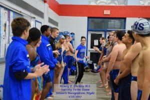 Swim Team – Seniors Recognition Night – 1/18/2017
