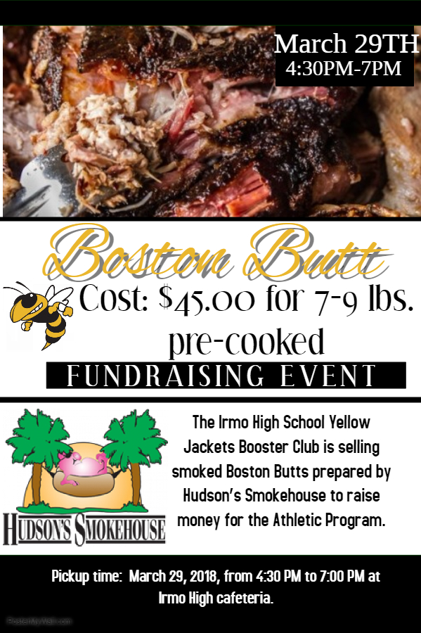It's Not Too Late to Get Your Boston Butt. Deadline is March 13th   Cost is $45