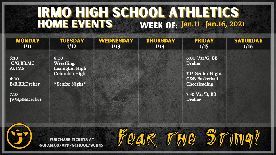 All Things Irmo!!! Weekly Athletic Events