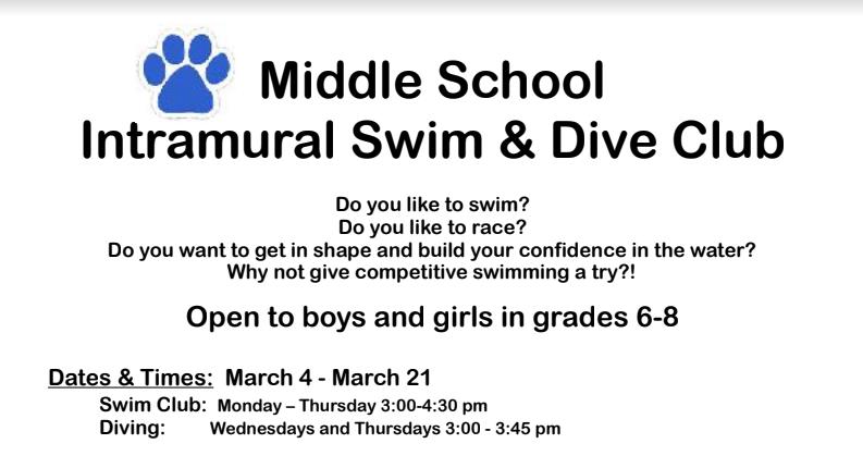 Middle School Intramural Swim & Diving Club