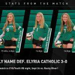 Girls Varsity Volleyball beats Elyria Catholic 3 – 0