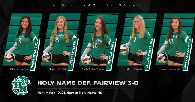 Girls Varsity Volleyball beats Fairview 3 – 0
