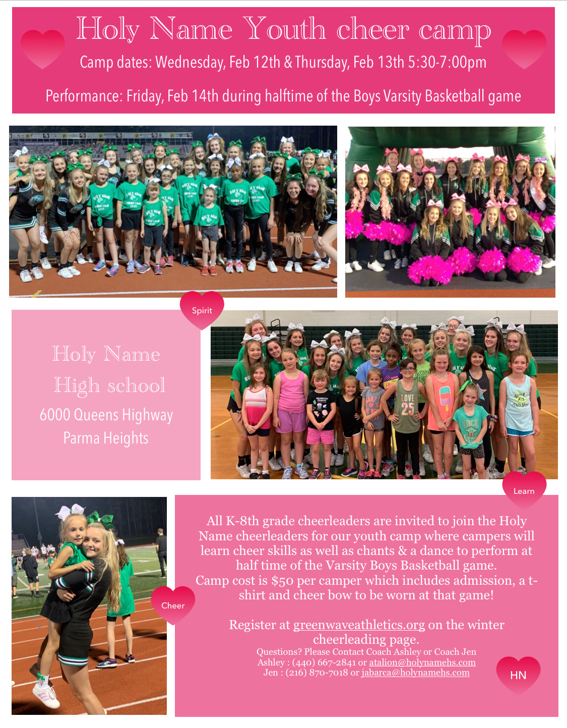 Holy Name Winter Youth Cheerleading Camp!
