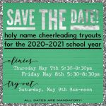 Holy Name Cheerleading Tryouts for the 2020-2021 school year