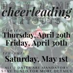 Holy Name Cheerleading Tryouts for the 2021-2022 school year!