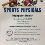 Sports Physicals on Tuesday April 2nd at Highpoint Health