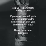 Homecoming Football Game: Donate Water or Canned Food Tonight #HoosiersHelpingHouston