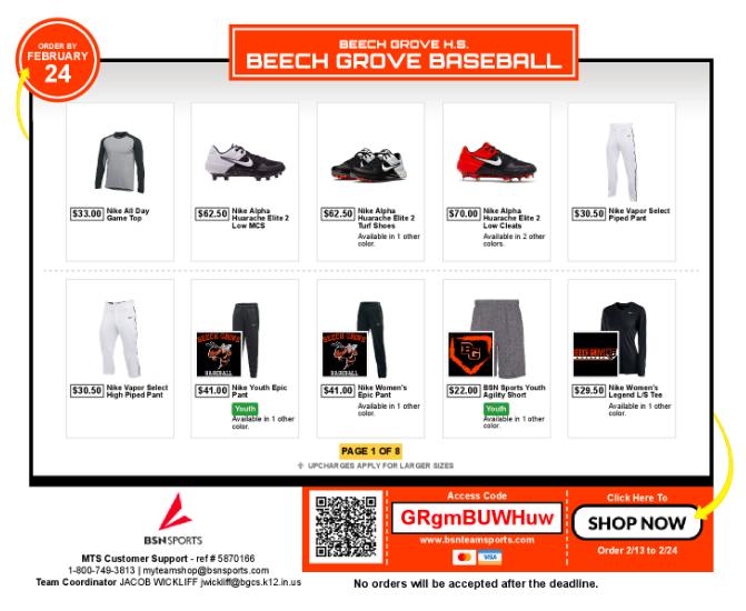 Baseball Team Store & Fan Shop