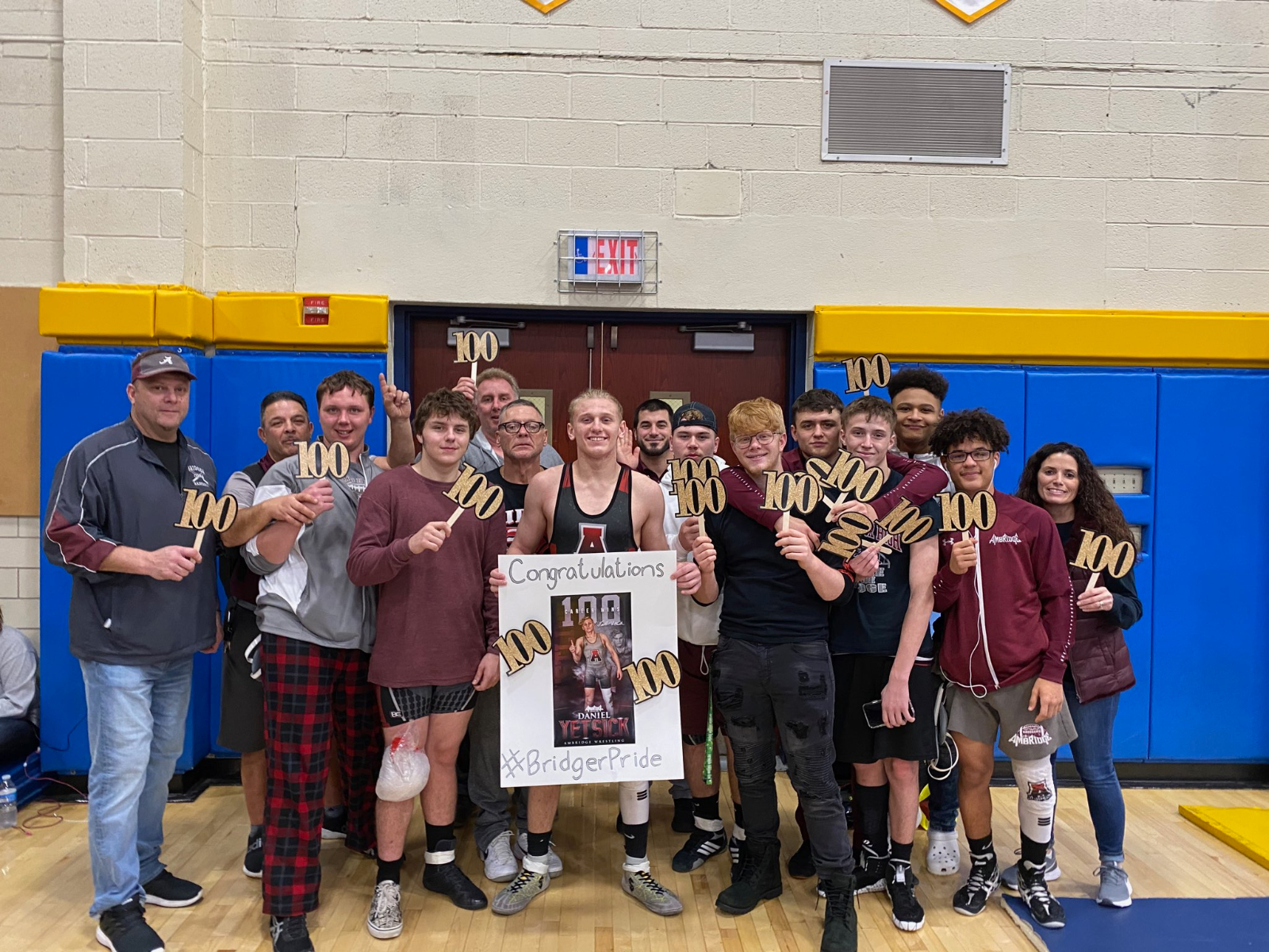 Daniel Yetsick scores his 100th win for the Bridger wrestling team