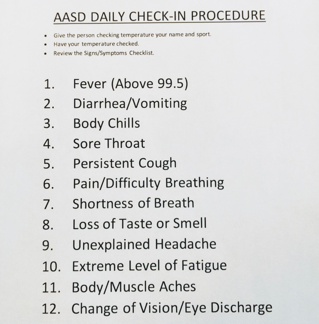 COVID-19 Symptom Check-list